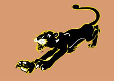 Black Panther leaping. Drawing, cartoon Black Panther leaping Royalty Free Stock Images