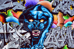 Black panther mural. SAN FRANCISCO CA USA APRIL 14 2015: Black panther mural San Francisco is a virtual outdoor art gallery where city walls become the artist Royalty Free Stock Images
