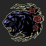 Black panther and roses. Royalty Free Stock Photography