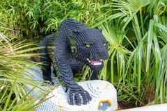 A Black Panther statue made from Lego bricks. CHESTER, UNITED KINGDOM - MARCH 27TH 2019: A Black Panther statue made from Lego bricks stock photo