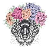 Black Panther in a wreath of flowers. Royalty Free Stock Photo