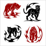 Black panthers set - stylized images for tattoos Stock Photos