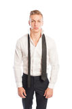 Black pants and necktie with white shirt Stock Photography
