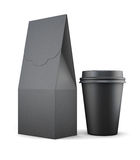 Black paper bag and Cup for lunch on white background. 3d render. Ing Royalty Free Stock Images