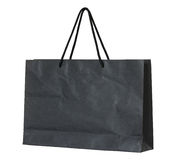 Black paper bag isolated on white Royalty Free Stock Photo