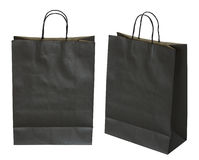 Black paper bag isolated on white Royalty Free Stock Photos