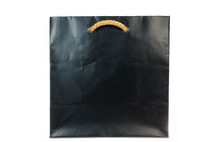 Black paper bag on white background Royalty Free Stock Images