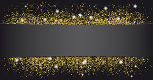 Black Paper Banner Golden Sand. Black paper banner with golden sand Royalty Free Stock Photography