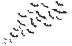 Black paper bats flying across the screen, vector Halloween elements on white background stock illustration