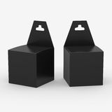 Black paper box packaging with hanger, clipping path included Royalty Free Stock Images