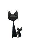 Black paper cat. In white background Stock Image