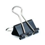 black paper clip  on white Royalty Free Stock Images