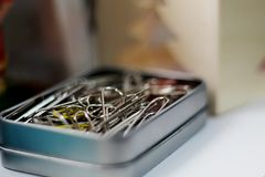 Black paper clips royalty free stock photo