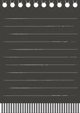 Black paper. This is notepaper, it is black paper with white line Stock Image