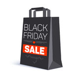 Black paper shopping bag with ad text. Black friday sale on the bag. 3D illustration. Template for online shopping Royalty Free Stock Photo