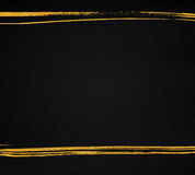 Black paper texture with hand drawn golden lines. Dark background with copyspace Stock Photos