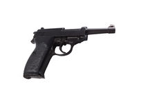 A black parabellum p38. And white background Stock Images
