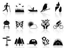 Black park and garden icons set Stock Image