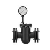 Black part of a pipeline with the manometer Royalty Free Stock Photos