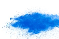 Black particles splatter on white background. Black powder dust burst.  stock photo
