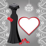 Black party dress with chandelier,label,paisley border Royalty Free Stock Photo