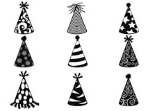 Black party hat icons set Stock Images