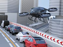 Black passenger drone flying over cars in heavy traffic jam. Concept for drone taxi. 3D rendering image vector illustration
