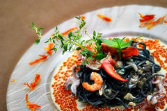 Black pasta with lobster Royalty Free Stock Photography