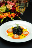 Black pasta with meat Royalty Free Stock Photo