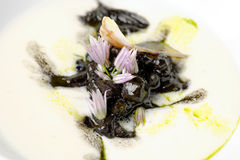 Black pasta with seafood Royalty Free Stock Image