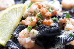 Black pasta with seafruit Stock Photography