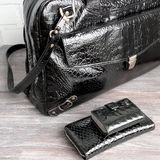 Black patent leather fancy goods (bag, wallet, card case) Royalty Free Stock Images