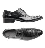 Black patent leather male shoes. Side and top views, with clipping path Royalty Free Stock Images