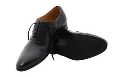 Black patent leather men shoes isolated on white Stock Images