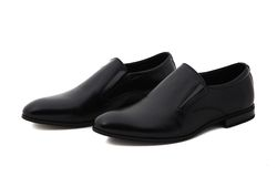 Black patent leather men shoes isolated on white Stock Image