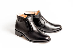 Black patent leather men shoes isolated Royalty Free Stock Photos