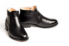 Black patent leather men shoes isolated Stock Image