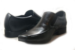 Black patent leather men shoes Stock Photos