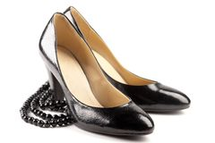 Black patent-leather shoes Stock Photography