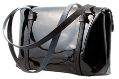 Black patent leather woman's bag Stock Images