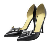 Black patent leather women's high heels Royalty Free Stock Images