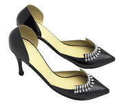 Black patent leather women's high heels Stock Photography
