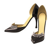 Black patent leather women's high heels Royalty Free Stock Photography