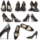 Black Patent Stiletto. Hugh Heels royalty free stock photography