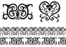 Black pattern. Decorative background and border items Stock Photography