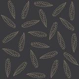 Black pattern. Leafes on a black background Stock Photography
