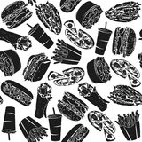 Black Pattern Fast Food I. With 16 icons for the creative use in graphic design vector illustration