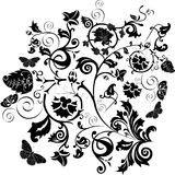 Black pattern with flowers and butterflies Royalty Free Stock Photography