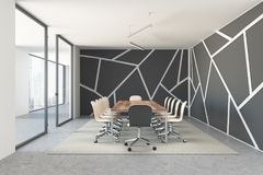 Black pattern meeting room, wooden table Royalty Free Stock Photo