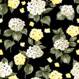 Black pattern of summer flowers. Background swatch made of blossom white flowers. Seamless illustration. Vector flowers Stock Image